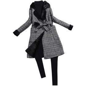 チェック柄のコート トレンチコート レディース チェック コート ロング ジャケット 千鳥の格子 裏起毛 膝の下 秋冬 通勤 通学 中長金 加の絨 厚手 大きいサイズ ウールコート S-2XL (M, 黒)
