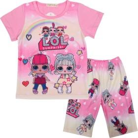 LATLONG LOL サプライズ ドール 子供服 Lol Surprise Doll パジャマ かわいい 半袖tシャツ+パンツ セット 女の子 ルームウェア 寝巻き 夏 可愛い(130cm,40-ピンク)
