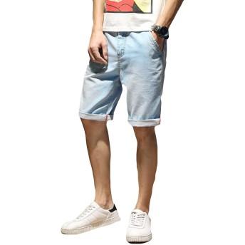 YiTongデニムパンツ メンズ 夏 薄手 ハロンパンツ ハーフパンツ カジュアル 快適 五分丈パンツ ストレッチ シルエット ファッション 大きいサイズ 無地 通気性ライトブルー40