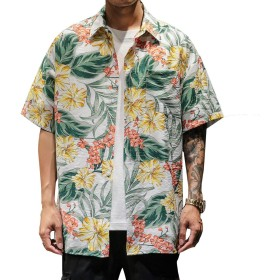 BLFGNCOB アロハシャツ メンズ 花柄 半袖 サーフ系 春夏 大きいサイズ リゾート トップス ストリート系 ヒップホップ カジュアル