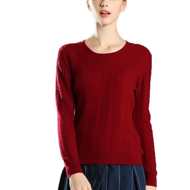 (茜欧莉) solely レディース カシミヤ ケーブル編みクルーネック セーター 18J9929HO 赤い (XL)