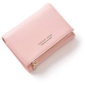 ENMNM 財布 レディース 二つ折り ミニ財布 人気 ウォレット カード小銭入れ かわいい 小花 おしゃれ 女性用 軽量 コンパクト (ピンク、)