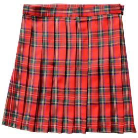 TAOHUA プリーツスカート チェック柄 ショート丈 スカート ハイウエスト 多色 学風 (XL, レッド)