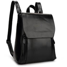 BOLUORY リュック リュックサック バッグ シンプル フェイクレザー 2way レディース A4 収納 通学 通勤 (ブラック)