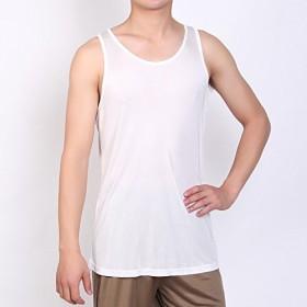 ALUL(アルール) メンズ シルク100% ベスト  スポーツ パジャマ 夏 絹100% 通気性 涼しい おやすみ 吸汗速乾 ボディ ケア 大きいサイズ 運動  (XL, ホワイト)