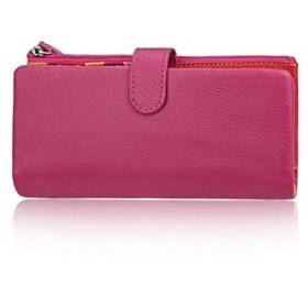 DcSpring女性財布本革レディースクラッチ財布ロングクレジットカードオーガナイザー大容量ジッパー付き(ローズ)