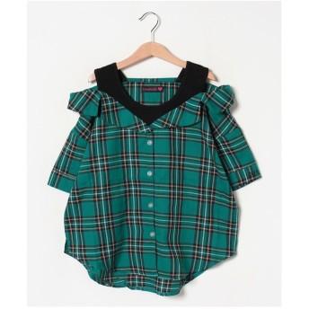 Lovetoxic レイヤードチェックシャツブラウス(ブルーグリーン)【返品不可商品】