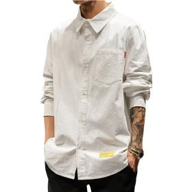 シャツ メンズ 長袖 ネルシャツ カジュアル 大きいサイズ スリム シャツGlestore(グラストア)ホワイトS
