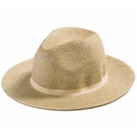 クイーンヘッド AD12中折れハット UV 帽子 レディース 大きいサイズ つば広 中折れ ハット 日よけ 麦わら帽子 紫外線対策【フリー56-60cm-ベージュ】