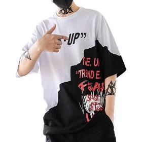 Meilaifushi パッチワーク メンズ プリント Tシャツ 男性 カッコイイ 通勤 英文字プリント 半袖 日常 スポーツ 個性的 上着 薄手 快適 シンプル 夏服 通学 多色 吸汗速乾 トップス T-shirt