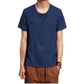 メンズ tシャツ 綿麻 薄手 無地 半袖 麻 リネンTシャツ ゆったり カジュアル シンプル シャツ 通気性抜群 大きいサイズ チャイナボタン