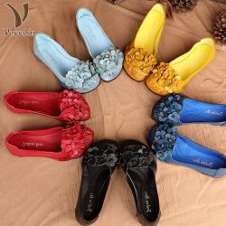 【Vecchio】真皮頭層牛皮手工立體串花舒適低跟單鞋(5色任選)
