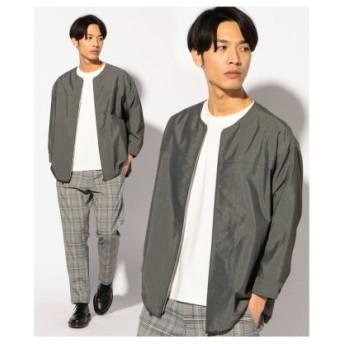 (Men's Bigi/メンズビギ)7分袖ノーカラーピンドットジップシャツブルゾン/メンズ グレー