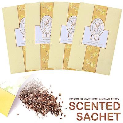 【超值4入】kiret 可掛式香氛 香包 香薰袋-百合款-衣櫃防黴防蟲除臭