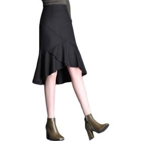 [ディーハウ]スカート レディース マーメイドスカート フリル フレアスカート きれいめ ひざ丈 タイトスカート 春秋 フェミニン キレイめ 上品 美脚 お洒落 カジュアル 膝丈 ロング 無地 フレア オフィス 通勤OL 大きいサイズ ブラックM