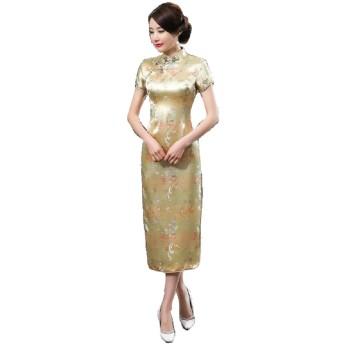 【Cadeau de Dieu】チャイナドレス チャイナ服 ロング 中国 ドレス イベント 刺繍 光沢 (L, 金)