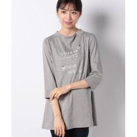 (CARA O CRUZ/キャラ・オ・クルス)ショールカラーのメッセージTシャツ/レディース グレー系
