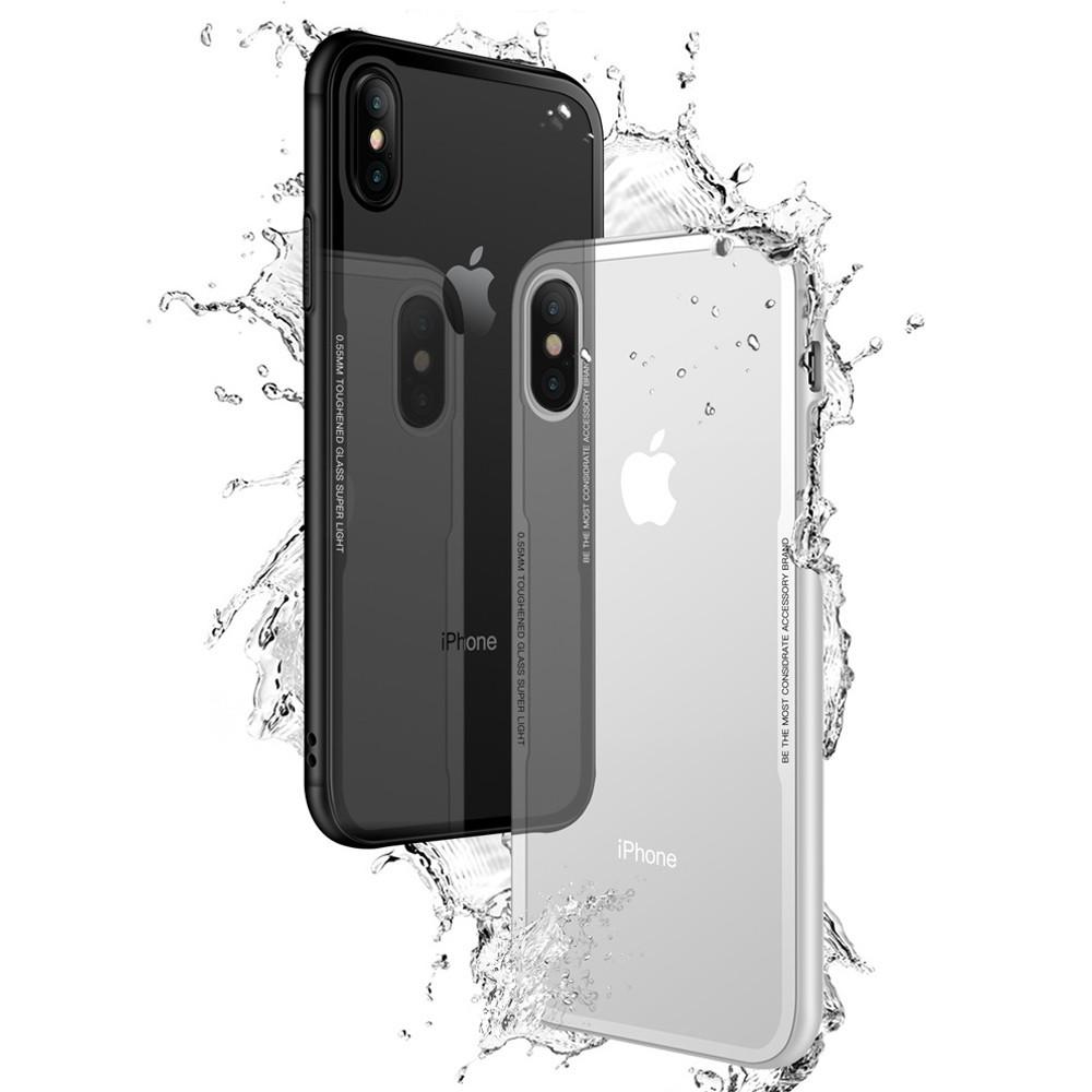 IPhoneX XS MAX XR鋼化玻璃i8玻璃殼i7手機殼i6透明防摔 iPhone7蘋果iPhone8 Plus
