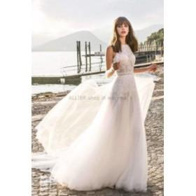 ウェディングドレス/パーティドレス アイボリーレース ノースリーブ Aラインフロアレングス ビーチウェディングドレス