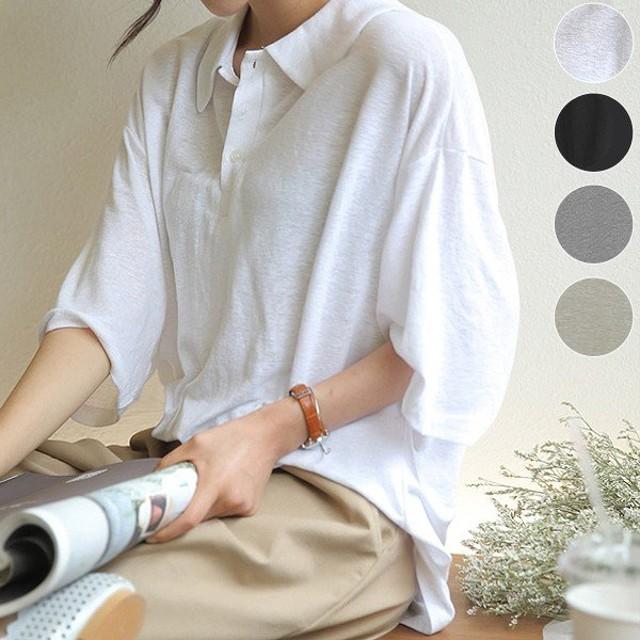プレ値下げ Tシャツ レディース 半袖 ポロシャツ カジュアル 大きいサイズ 体型カバー カットソー トップス (メール便送料無料) (t579)