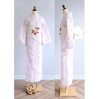 浴衣 - kimonocafe 浴衣3点セット 淡ピンクアーモンド花柄 フリーサイズ 浴衣帯と浴衣下駄がセットになった女性浴衣セット