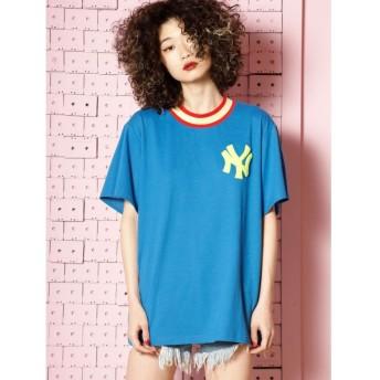 ジュエティ New York Yankees ラインリブ Tシャツ レディース ブルー M 【jouetie】