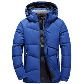 [L.Z.L] ダウンコート メンズ フード取出し可 細身 ショート丈 コート 大きいサイズ ダウンジャケット メンズ ビジネスコート アウトドアウェア スキーウェア 防寒着 防風 アウター ジャケット ブルゾン (XL, ブルー)