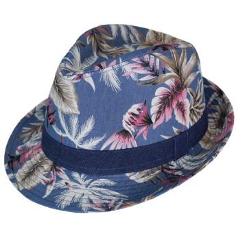 [スウィングプラス] SWINGPLUS ハット ボタニカル中折れハット 帽子 ボタニカル 花柄 リボン 春 夏 スナッププリム サイズ調整可能 フリーサイズ メンズ (フリー, サックスブルー)