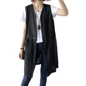 JIANGWEIレディース 綿麻 ジレ ベスト ロング ゆったり シンプル 薄手 フリーサイズ 夏 ポケット付き 通勤 ブラックF