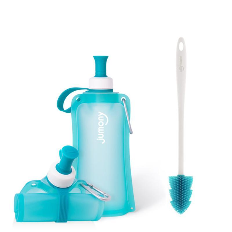 100%簡約便攜捲式鉑金矽膠水瓶-550ml-薄荷藍+水瓶刷(藍色)