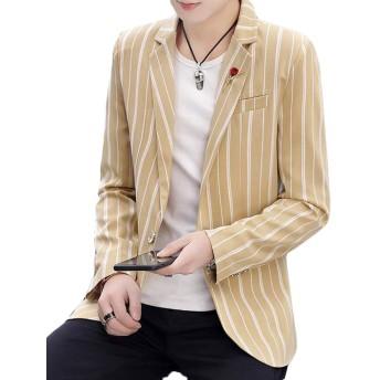 Bestmoodテーラードジャケット メンズ スリム 韓国 スーツ ストライプ柄 ファッション ジャケット フォーマル おしゃれ アウター ビジネス 通勤 春(Pカーキ)