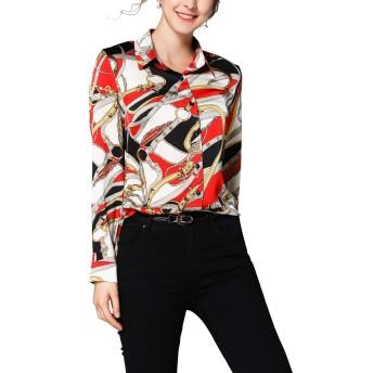長袖サテン ボタンダウンシャツ レディース ゴージャス柄シャツ M-XXXL 24時間以内の配達、3〜8日受取