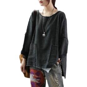 Fly Year-JP 女性カジュアルルーズフィットティーサイドスリット3 / 4スリーブ高低裾ポケットTシャツ Black OS
