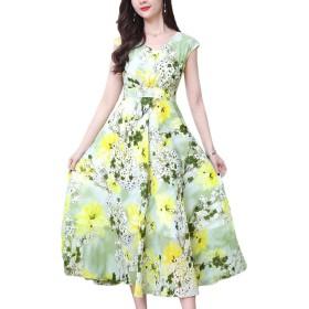 [美しいです]韓国風 ロングドレス シフォンワンピース 花柄 ワンピース 春 カジュアル チュニック マキシワンピース グリーン3XL
