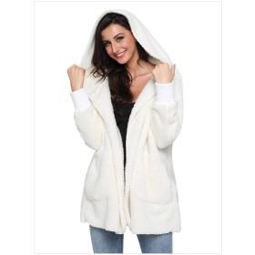 Lisa Pulster コート ジャケット レディース カーディガン 秋冬 無地 オシャレ 裏起毛 ゆったり 暖かい カジュアル 大きいサイズ (ホワイト, 2XL)