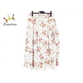 ワンダフルワールド WONDERFUL WORLD ロングスカート レディース 白×レッド×マルチ 花柄  値下げ 20190906