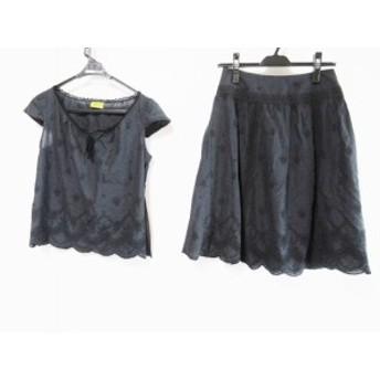ホコモモラ JOCOMOMOLA スカートセットアップ サイズ40 XL レディース 黒 レース/フリル/刺繍【中古】20190705