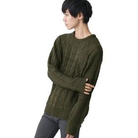 (モノマート) MONO-MART オーバーサイズ アラン編み クルーネック ケーブル ニット セーター メンズ カーキオリーブ Sサイズ