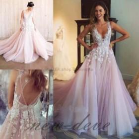 ウェディングドレス/パーティドレス ヴィンテージピンクAラインホワイトのウェディングドレスオープンバックビーチの花嫁衣装
