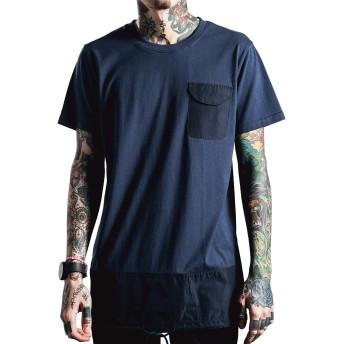 [ビヨンドユー] Tシャツ メンズ 半袖 無地 ロング ロング丈 黒 ブラック ネイビー グリーン byd111s16-NAV-L