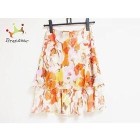 バレンチノ VALENTINO スカート サイズ4 XL レディース アイボリー×オレンジ×マルチ 花柄  値下げ 20190912