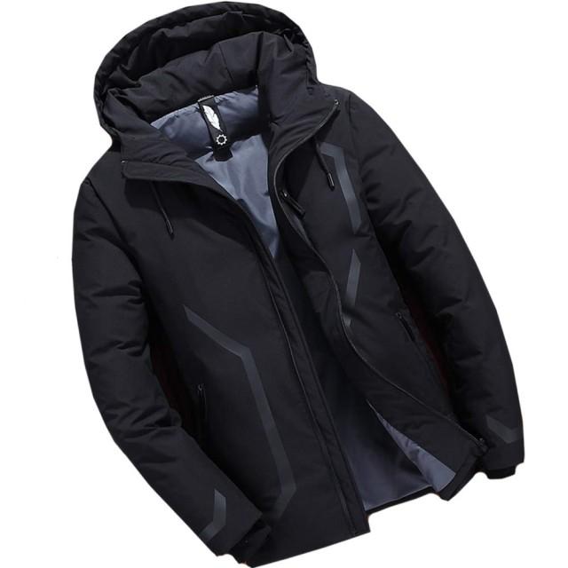 [GOS]メンズ ダウンジャケット ダウンコート モッズコート フェザー フード付き 短丈 撥水加工 防寒 厚手 [ブラック] [L] MY002