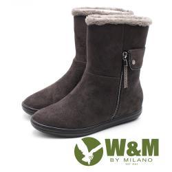 W&M絨布刷毛雪靴 中筒靴 女鞋 - 灰咖 (另有黑)