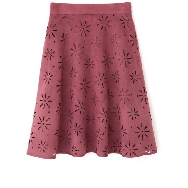 PROPORTION BODY DRESSING スウェードフラワーカットワークフレアスカート