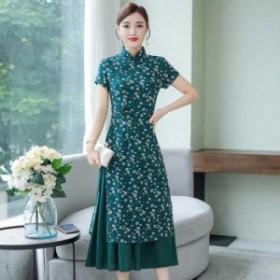 チャイナ風ワンピース アオザイ ドレス チャイナ服 中華服 スタンドネック 半袖 ロング丈 大きいサイズ M L LL 3L 4L 普段着 グリーン 緑