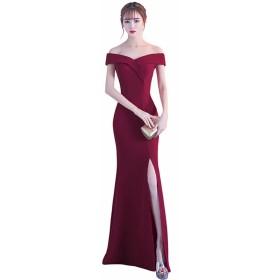 EASONDDD パーティードレス イブニング カクテル ロング ドレス ワンピース フォーマル オフショルダー 肩出し スリット セクシー お呼ばれ 結婚式 二次会 ブライズメイド レディース