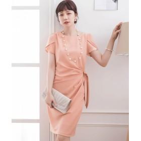 ドレス スター ペタル(チューリップ)スリーブサイドリボンドレーブワンピース レディース ピンク Mサイズ 【DRESS STAR】