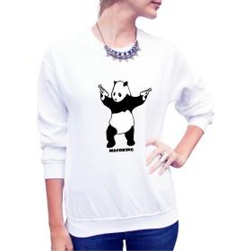 スウェット Tシャツ パンダ 可愛い オリジナル プリント 長袖 丸襟 ストレッチ クルーネック 美シルエット ファッション カジュアル コットン 綿 ホワイト M