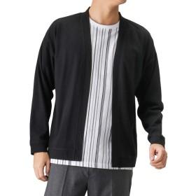Real Standard(リアルスタンダード) アンサンブルショールカーディガン カーディガン 半袖Tシャツ クルーネック セット 391118MH メンズ ブラック:L