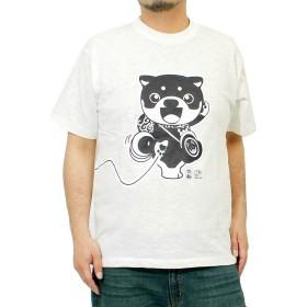 わんこ堂 Tシャツ メンズ 半袖 大きいサイズ 唐草 ポケット プリント クルーネック カットソー ゆるキャラ 和んこ堂 3L ホワイト